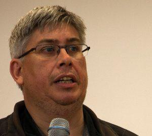 Marcus Strohmeier, ÖGB:s internationella sekreterare, höll en engagerad föreläsning om Österrikes fackliga historia.